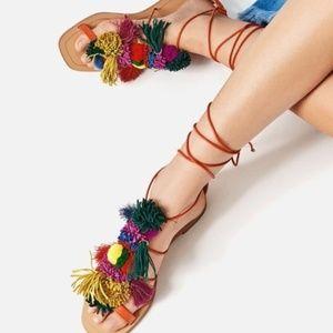 Zara *RARE* Multicolor Pom Pon Lace Up Sandals